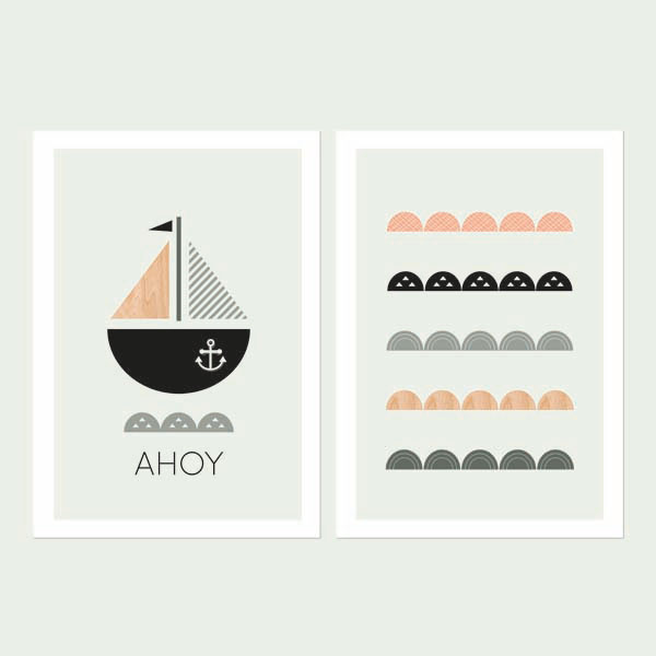 Ahoy-Series-of-Two Nursery art prints-