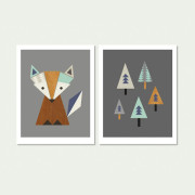 _FOX–In-The Woods, Series of two(Aqua and navy)