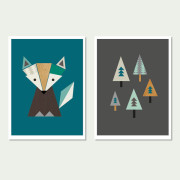 Fox in The Woods, Series of Two (Teals)