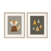 Fox-in-The Woods, Series of two,-in-Frames-