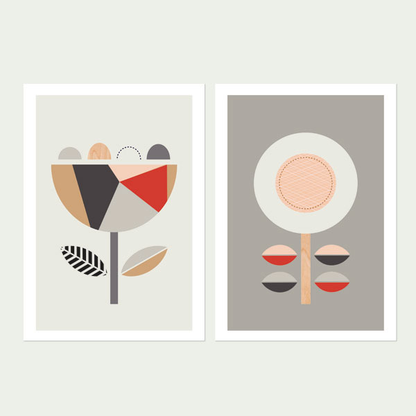 Geo-Scandi-Flowers(Red-and-Grey)