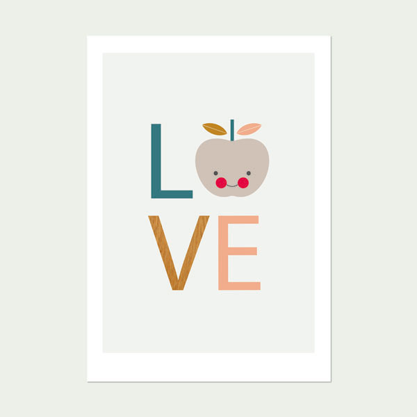 Love-Apple-Print-(-White-background-)Nursery art print-