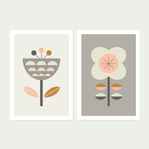 Scandi-Flowers-Pink-and-Grey, Series of two