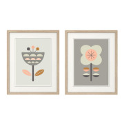 Scandi-Flowers-Pink-and-grey, Series of two-in-Frames